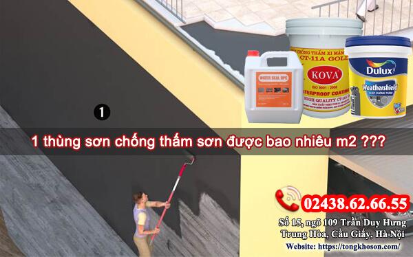 1 thùng sơn chống thấm sơn được bao nhiêu m2 ???