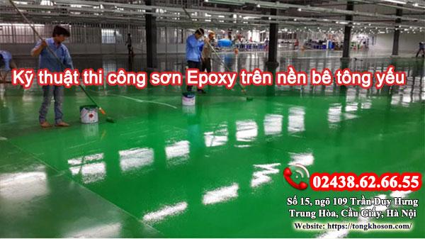 Kỹ thuật thi công sơn epoxy trên nền bê tông yếu