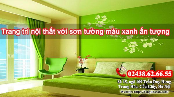 Trang trí nội thất với sơn tường màu xanh ấn tượng