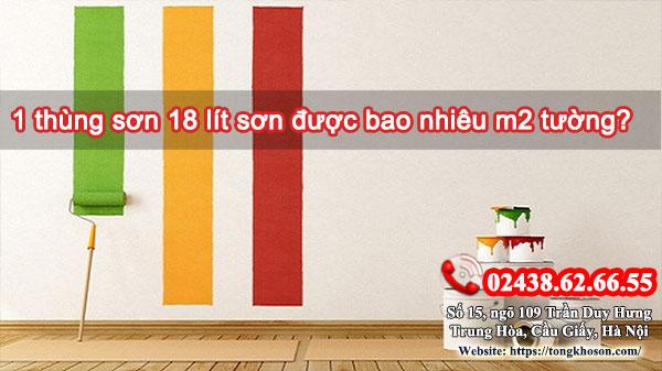 1 thùng sơn 18 lít sơn được bao nhiêu m2 tường