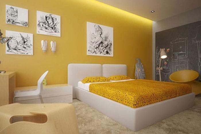 Sơn phòng ngủ màu vàng với sơn Takira