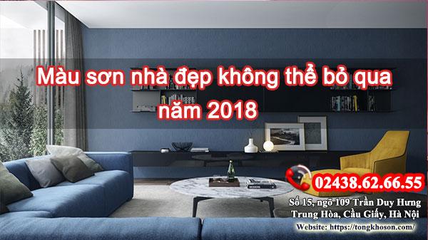 Màu sơn nhà đẹp không thể bỏ qua năm 2018