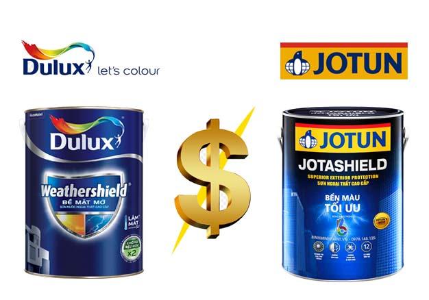 So sánh giá sơn Dulux và Jotun