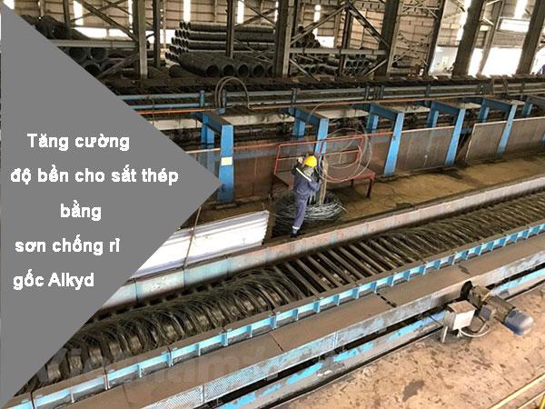 Tăng cường độ bền cho sắt thép bằng sơn chống rỉ gốc alkyd