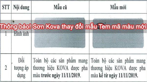 THÔNG BÁO !! Sơn Kova thay đổi mẫu tem mã màu mới từ ngày 11/11/2019