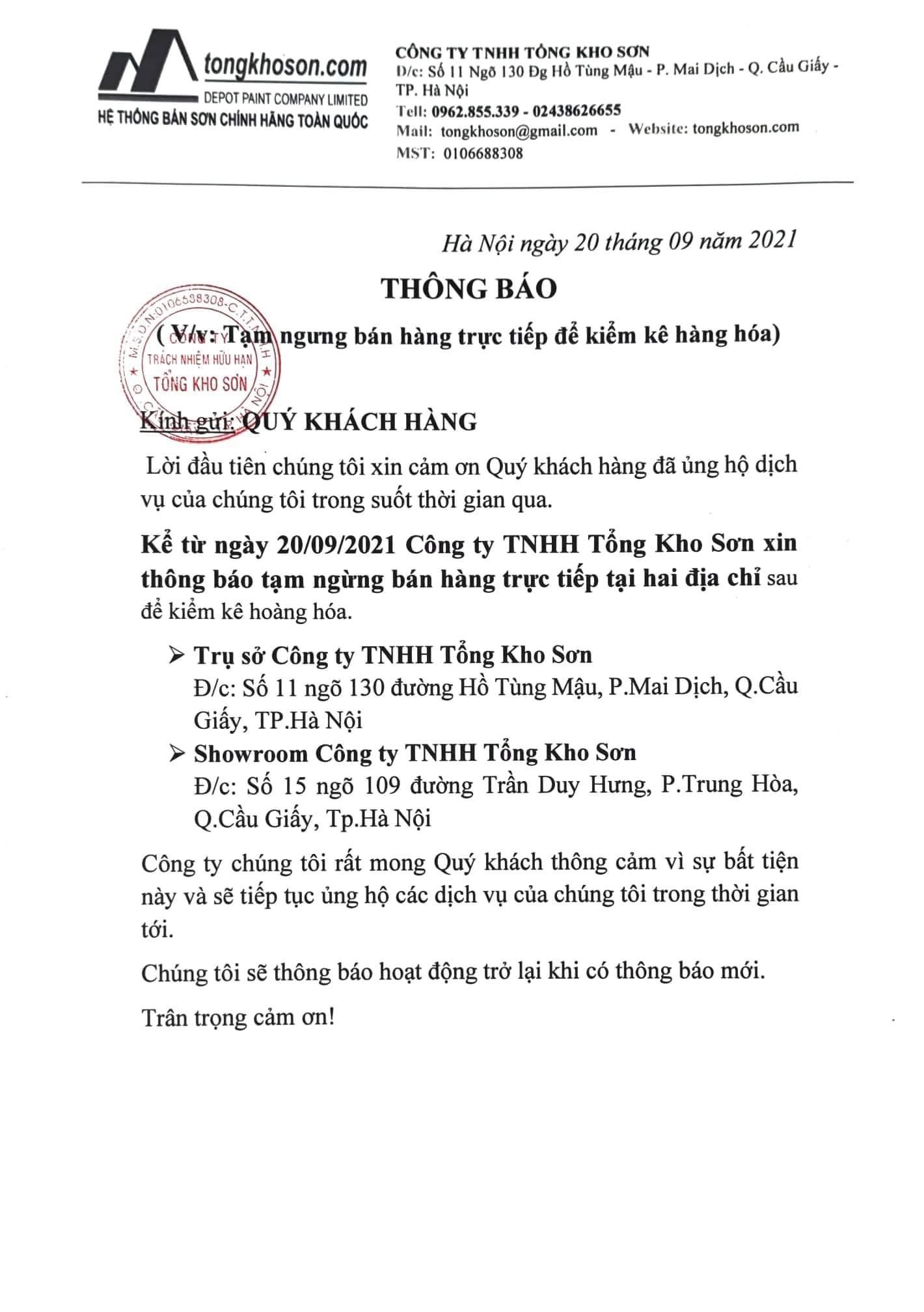 Tổng Kho Sơn thông báo về việc tạm ngưng bán hàng trực tiếp để kiểm kê hàng hóa