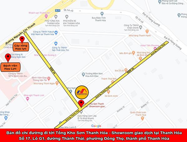 Bản đồ chỉ đường tới Tổng Kho Sơn Thanh Hóa - Showroom giao dịch tại Thanh Hóa