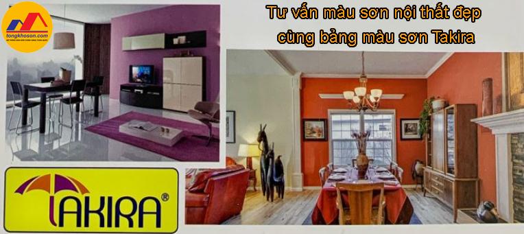 Tư vấn màu sơn nội thất đẹp cùng bảng màu sơn Takira