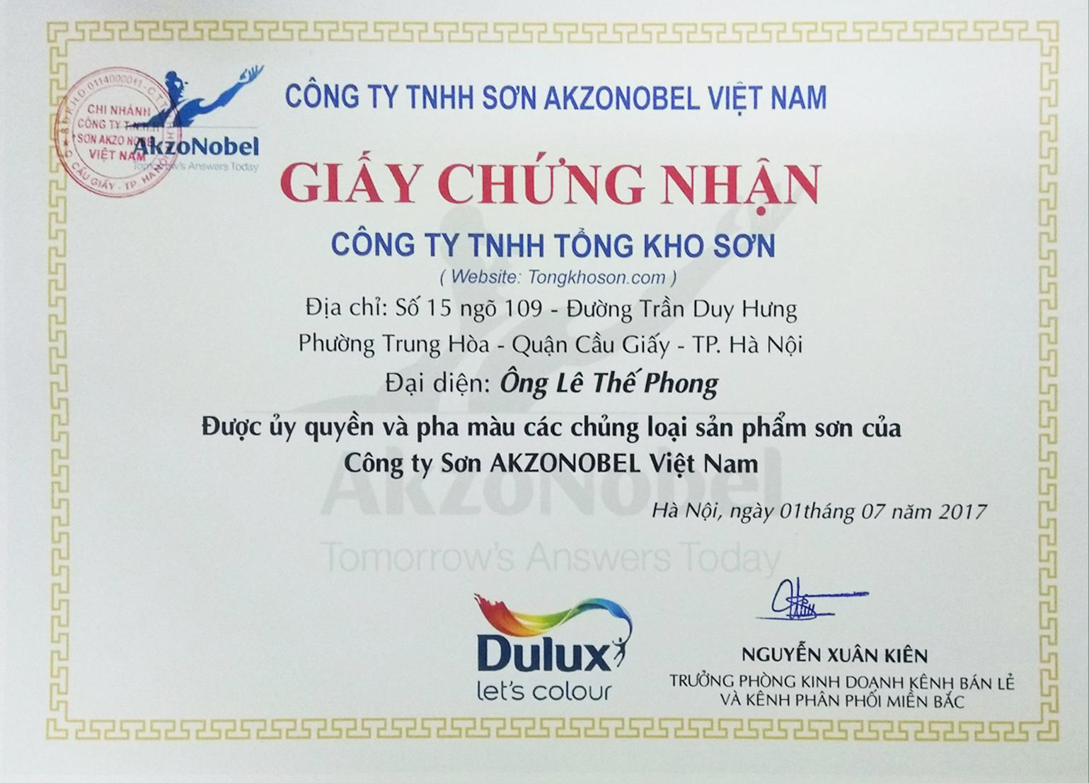 giấy chứng nhận sơn dulux chính hãng
