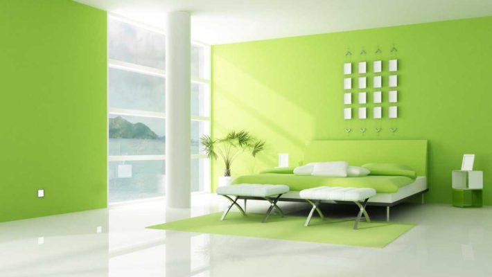 sơn nhà màu xanh lá cây giải nhiệt mùa hè