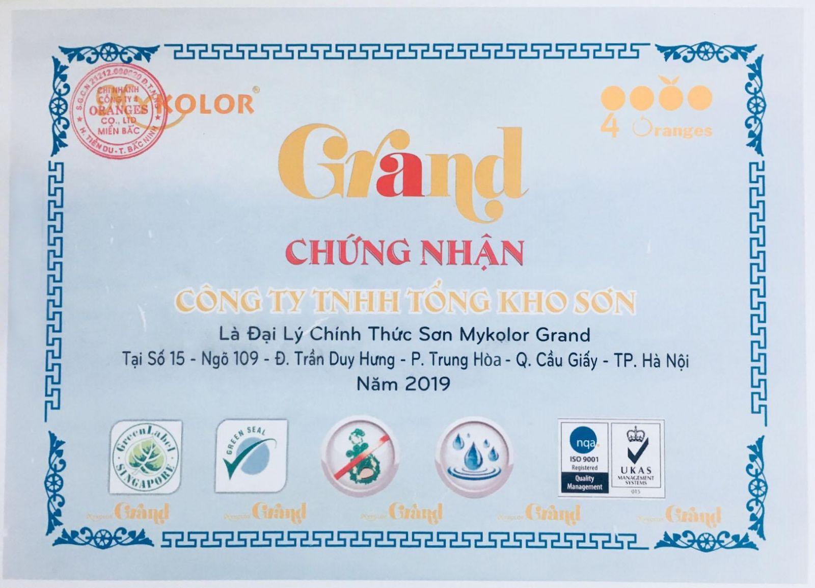 chứng nhận đại lý phân phối sơn Mykolor Grand