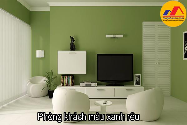 phòng khách màu xanh rêu