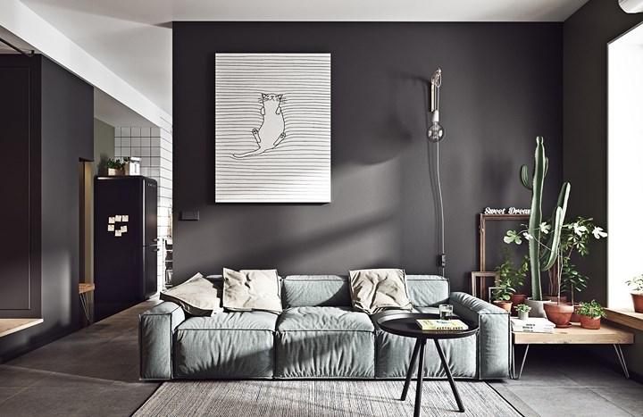 Phòng khách trang trí với gam màu xám đậm