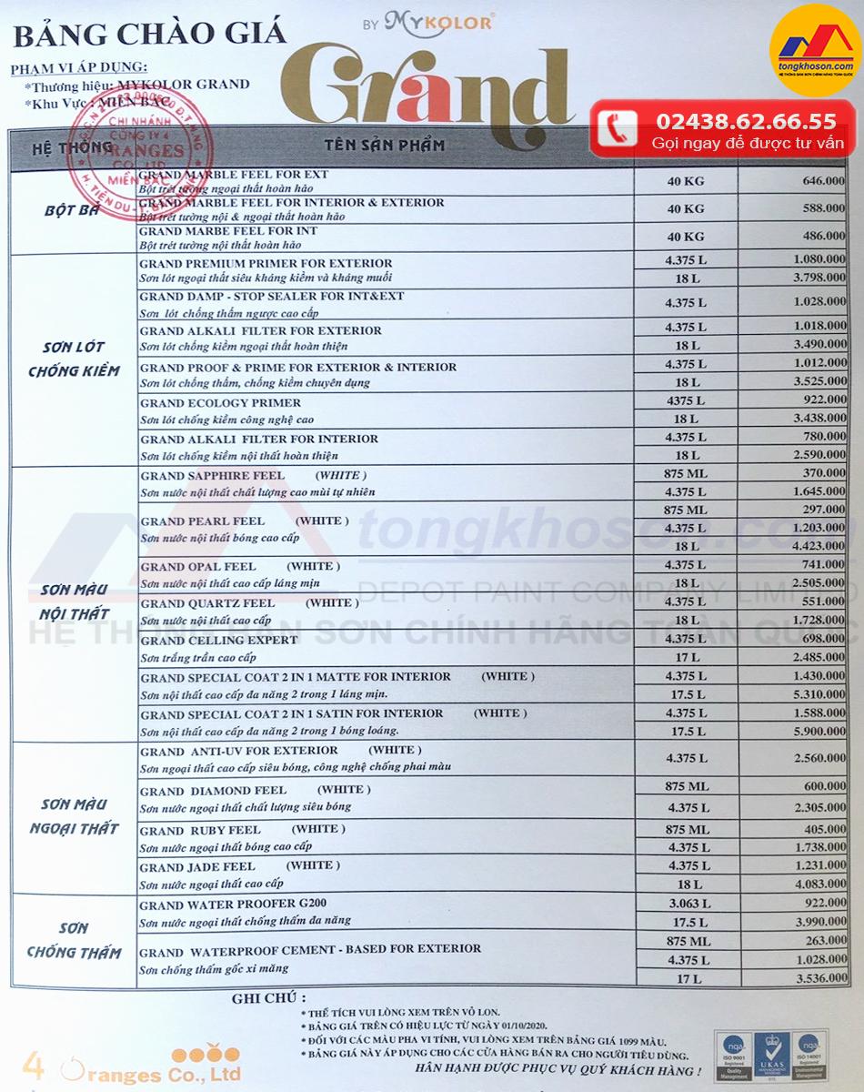 Bảng báo giá sơn Mykolor mới nhất ngày 01/10/2020