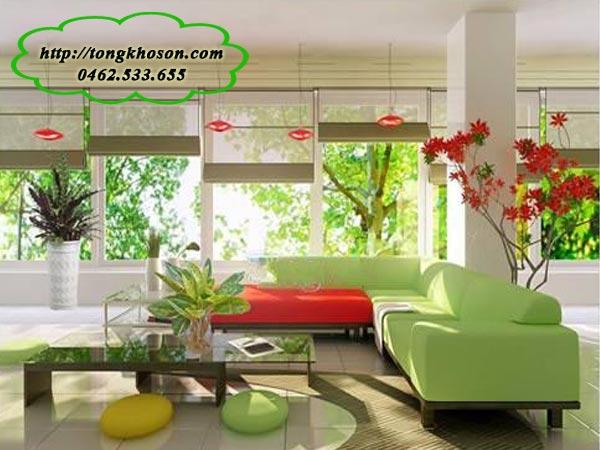 Phòng khách sơn màu xanh lá